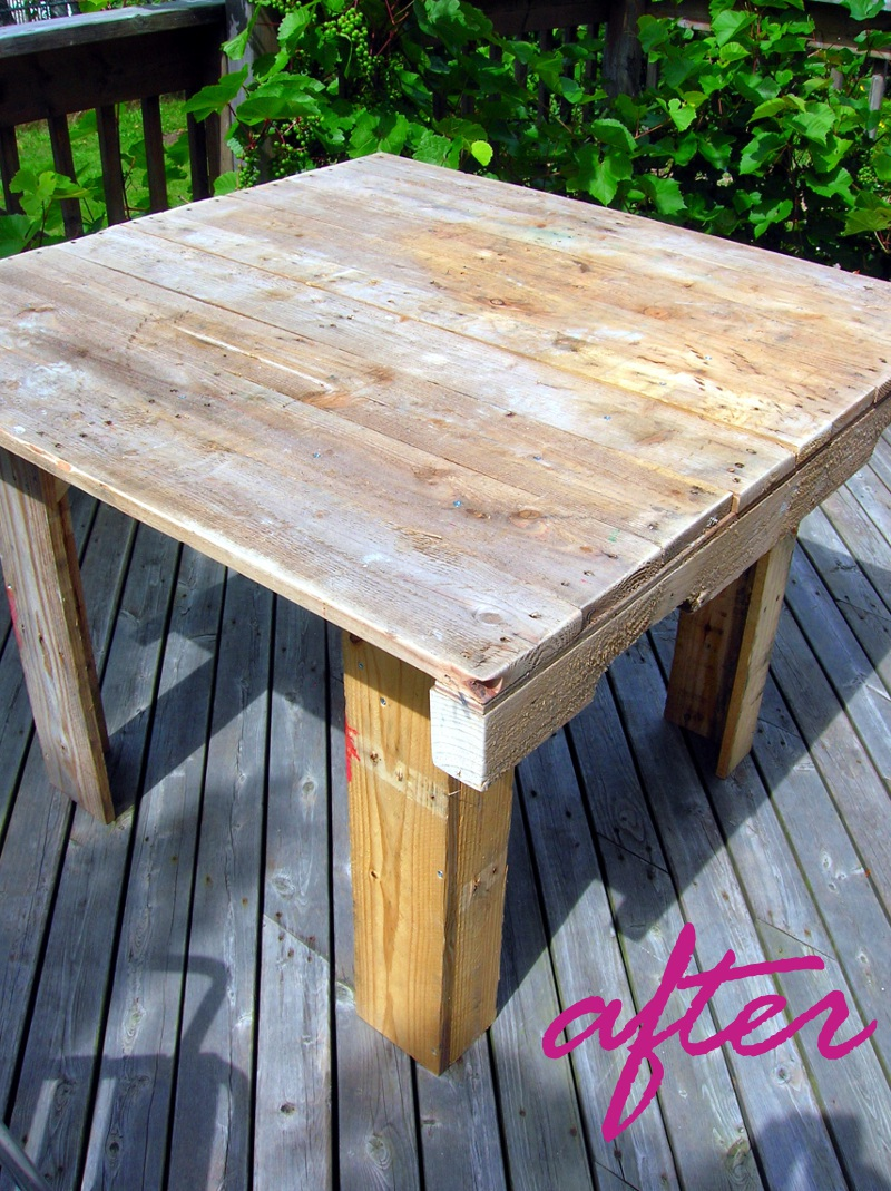How to make a pallet table movita beaucoup - How to make a table from a pallet ...